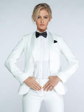 Diamond White Shawl Collar Tuxedo Jacket