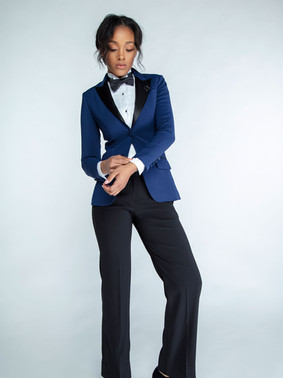 Navy & Black Peak Lapel Tuxedo Jacket & Black Straight Wide Leg Tuxedo Pants