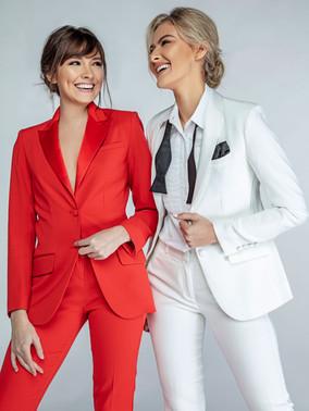 Red Peak Lapel Tuxedo Jacket & Diamond White Shawl Collar Tuxedo Jacket