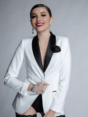 Diamond White & Black Shawl Collar Tuxedo Jacket