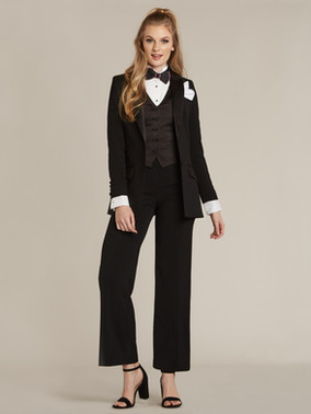 Black Peak Lapel Long Tuxedo Jacket & Black Straight Wide Fit Tuxedo Pants