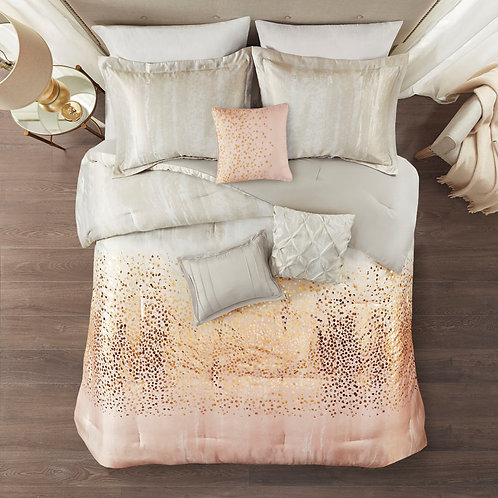 Midnight Garden 7 Piece Metallic Print Comforter Set By Madison Park