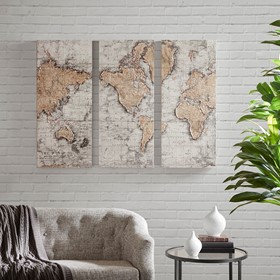 Map of the World Printed Canvas with 30% Hand Brush Embellishment Set of 3 Madis