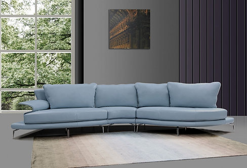 Divani Casa Andover - Modern Blue & White Sectional Sofa