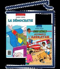 David Gérald affronte l'harmatan/ La démocratie (Livres têtebêche: d'un côté, un roman; de l'autre, un documentaire)