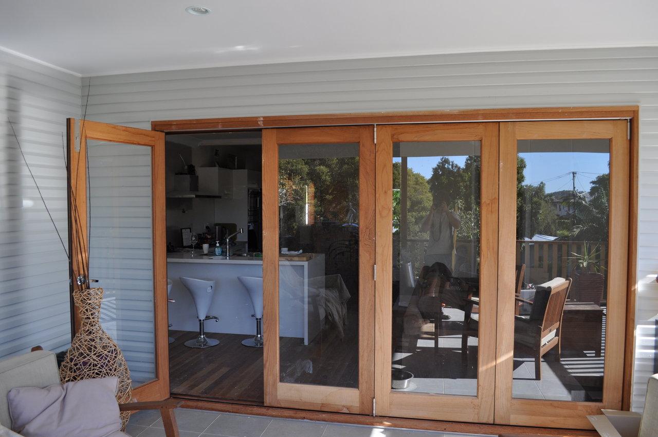 Timber Bi-Fold doors.
