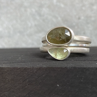 SOLD - MOSSY GREENS TRIPLE STACKING RING £150 +p&p
