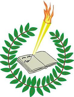 Logo der Storyolympiade in schwarzem Rahmen: Ein brennender, gelber Stift schreibt in ein aufgeschlagenes Buch. Das Buch und ein Teil des Stiftes ist umgeben von einem Blätterkranz.
