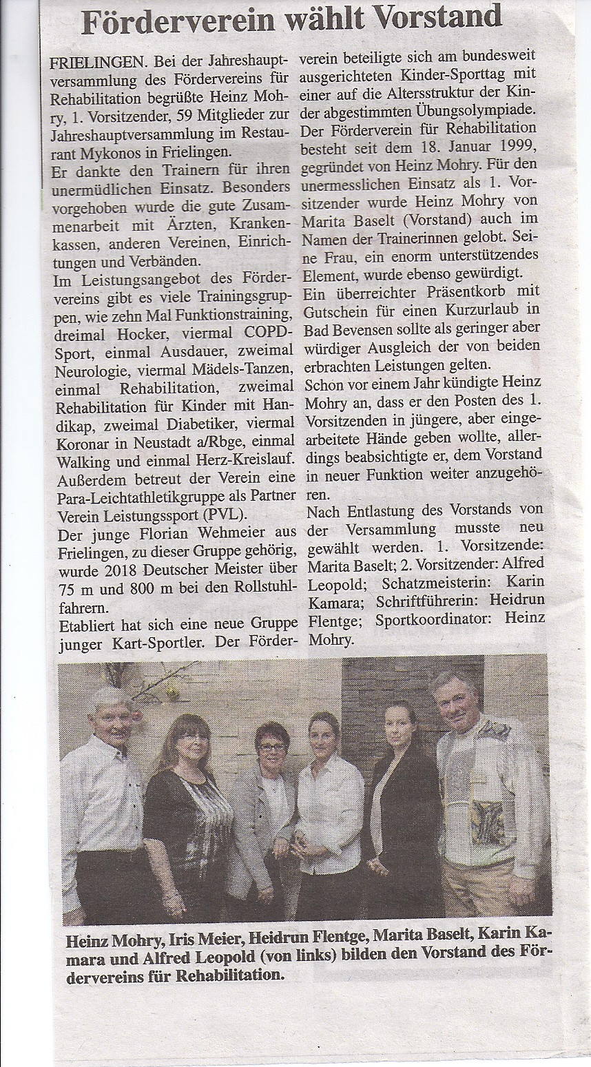 Förderverein wählt Vorstand - Zeitungsartikel Umschau 24April19