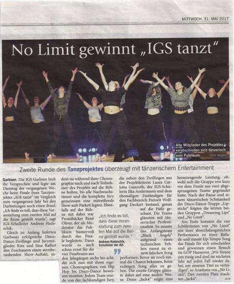 Artikel IGS tanzt_Laura Gamroth in Jury