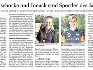 Jannes Günter zum Jugendsportler des Jahres 2019 der Stadt Garbsen gewählt