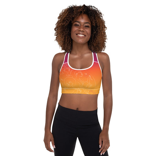 Floral Goddess Graphic Berry Sunset Padded Sports Bra