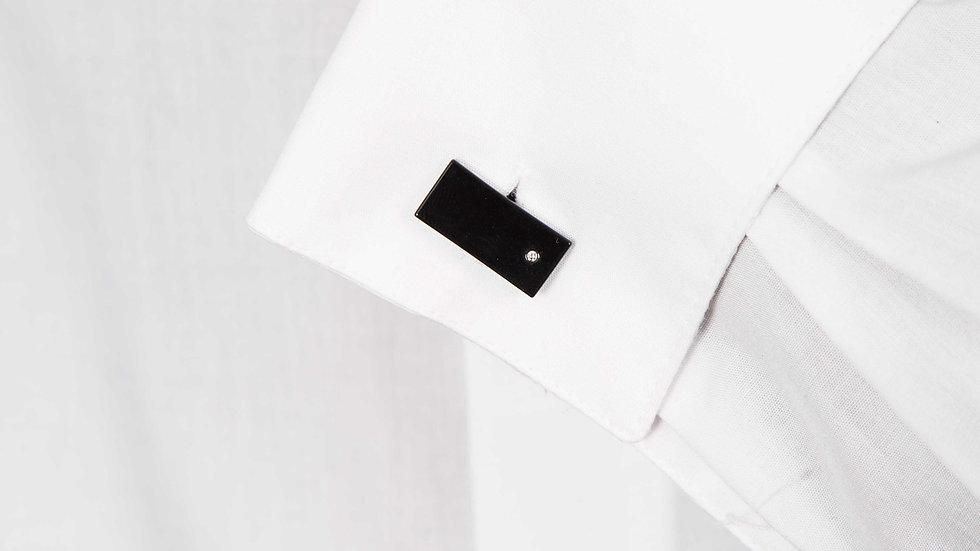 Boutons de manchettes rectangles noirs avec pierre