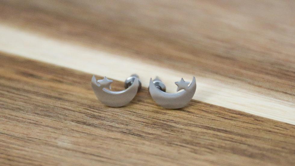 Boucles d'oreilles lunes et pierre