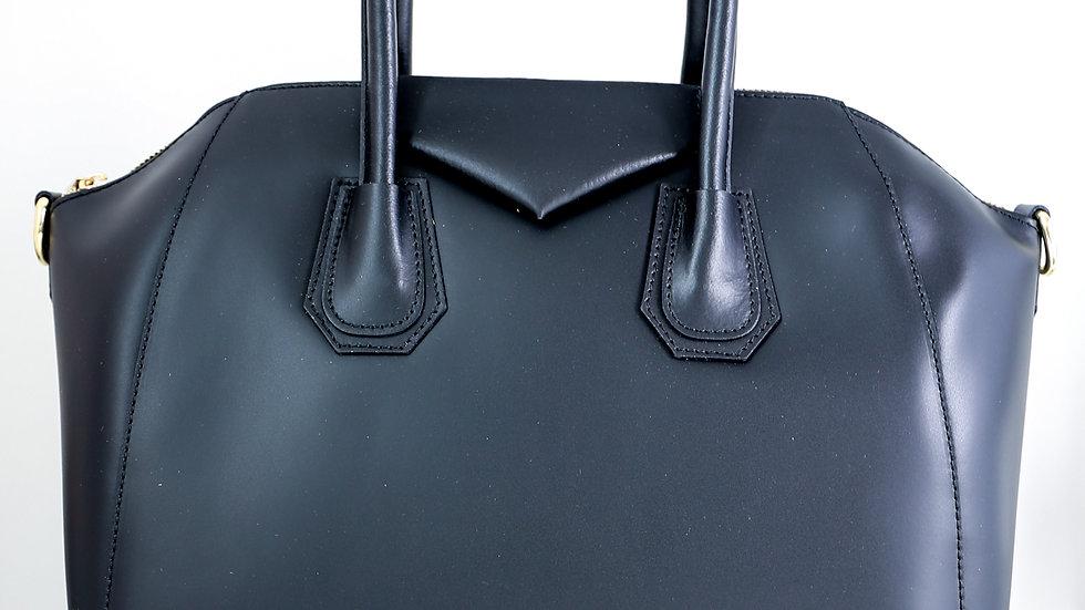 Grand sac à main noir femme rigide cuir et en bandoulière Abidjan
