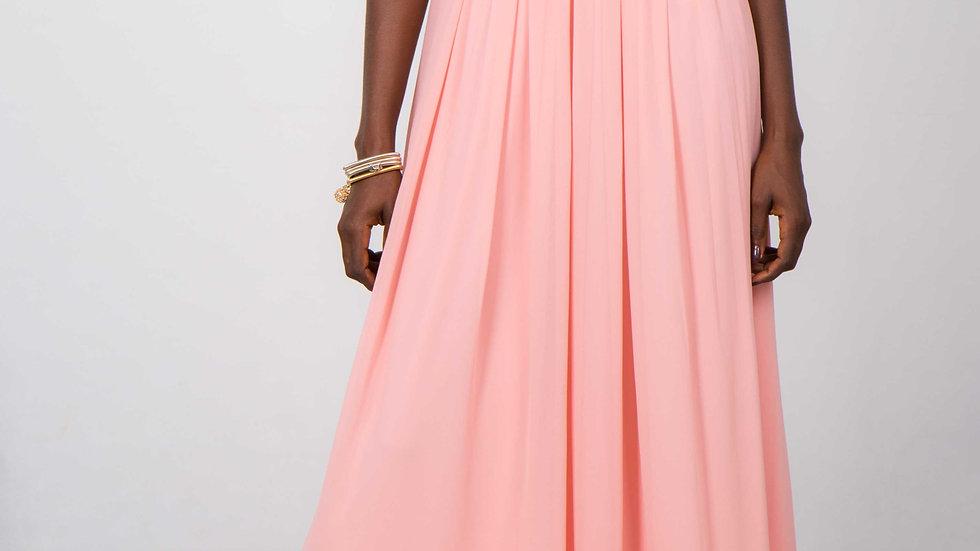 Robe de soirée avec dorure beige-rosé