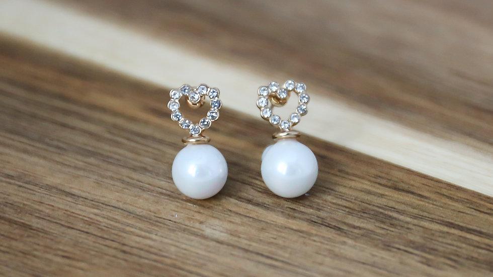 Boucles d'oreilles perles avec coeur