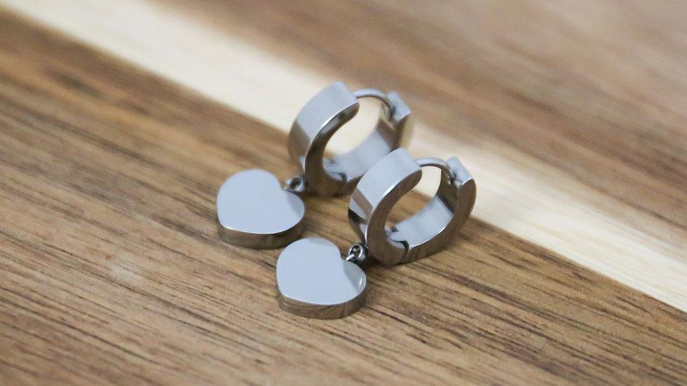 Boucles d'oreilles petites créoles coeur