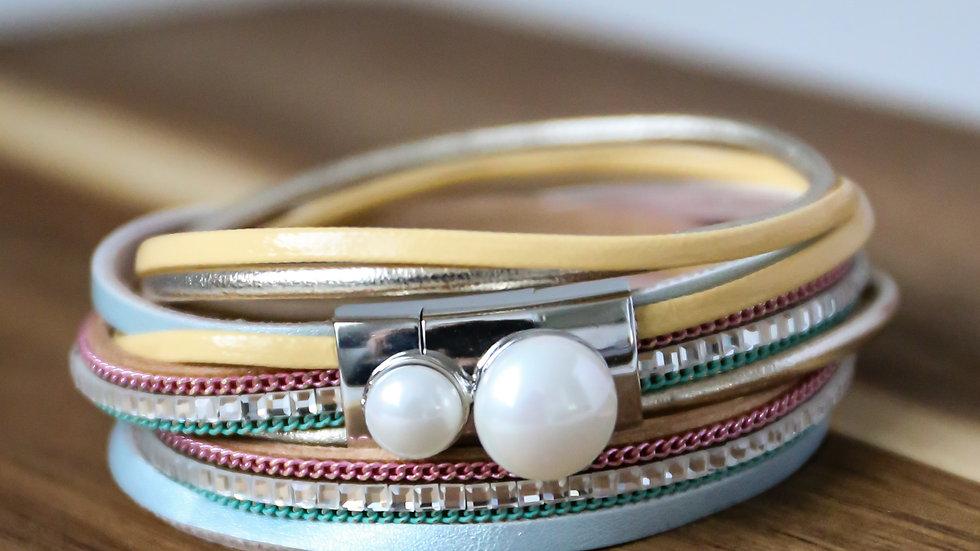 Bracelet cuir avec perles