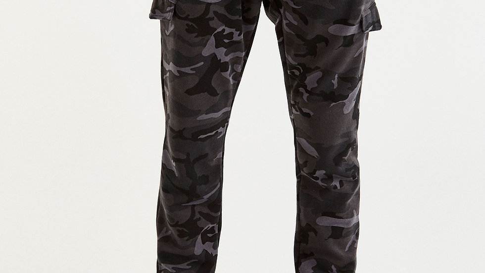 Pantalon jogging cargo gris camouflage
