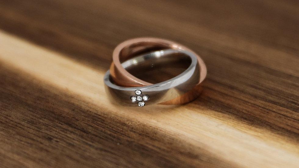 Bague anneau duo