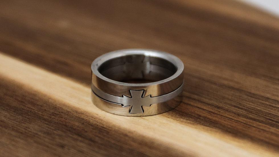 Bague anneau trio avec croix