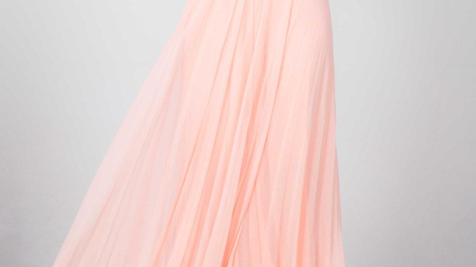 Robe de soirée drapée rose