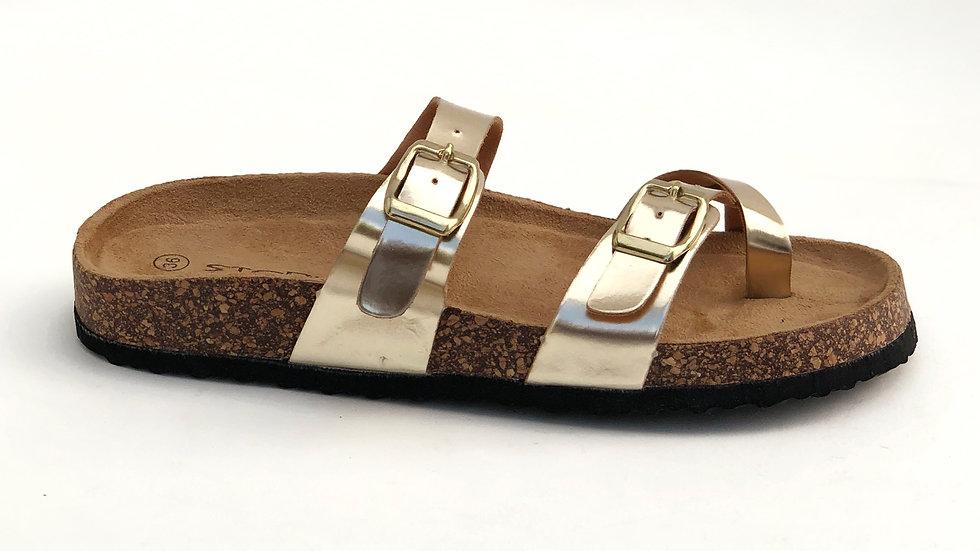 Sandales gold plates à plateforme