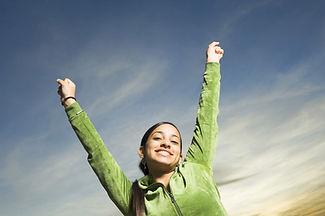 woman, cheering