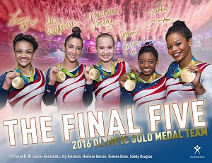 Display photos and posters of National or International women's or all-gender teams, or women's Olympic teams.
