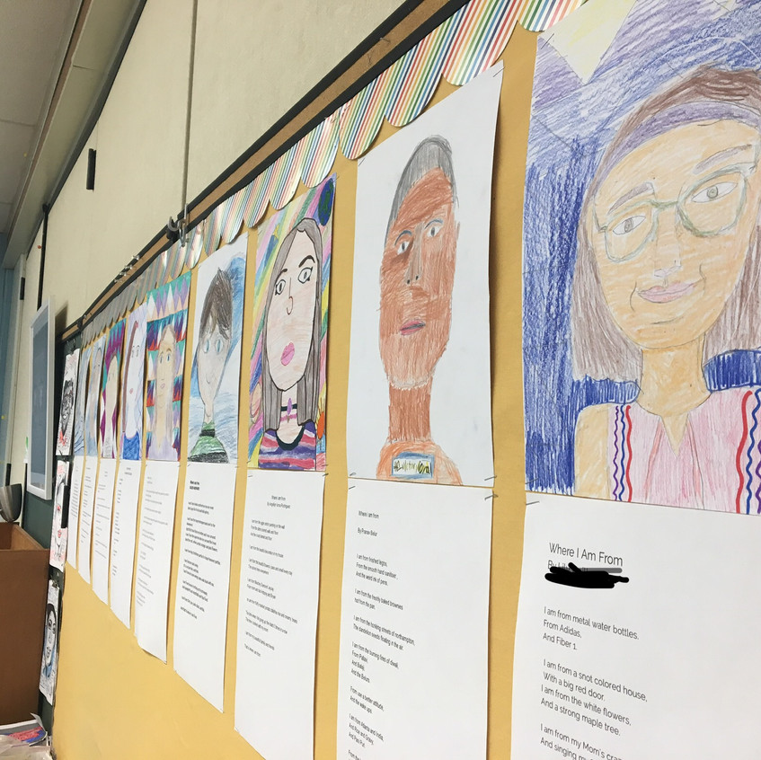"""Decorate your classroom with your students' faces! Have students draw self portraits and write """"Where I'm From"""" poems."""