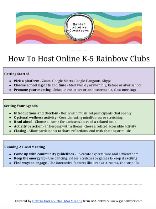 How To Host Online K-5 Rainbow Clubs
