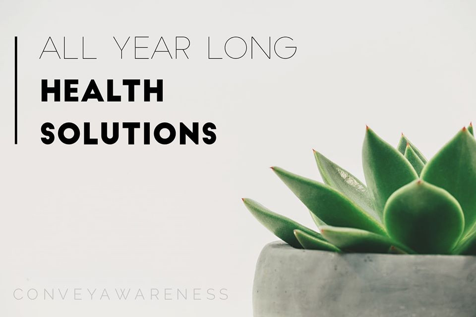 """Aloe green plant with post title: """"All Year Long Health Solutions"""""""