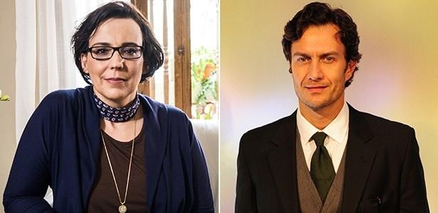 Os personagens Selma (Ana Beatriz Nogueira) e Laerte (Gabriel Braga Nunes), da novela Em Família