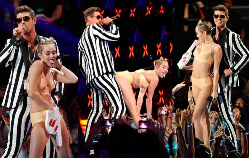 A cantora Miley Cyrus, ex-estrela da Disney, fez caras e bocas bastante ousadas durante apresentação no MTV Video Music Awards (Getty Images)