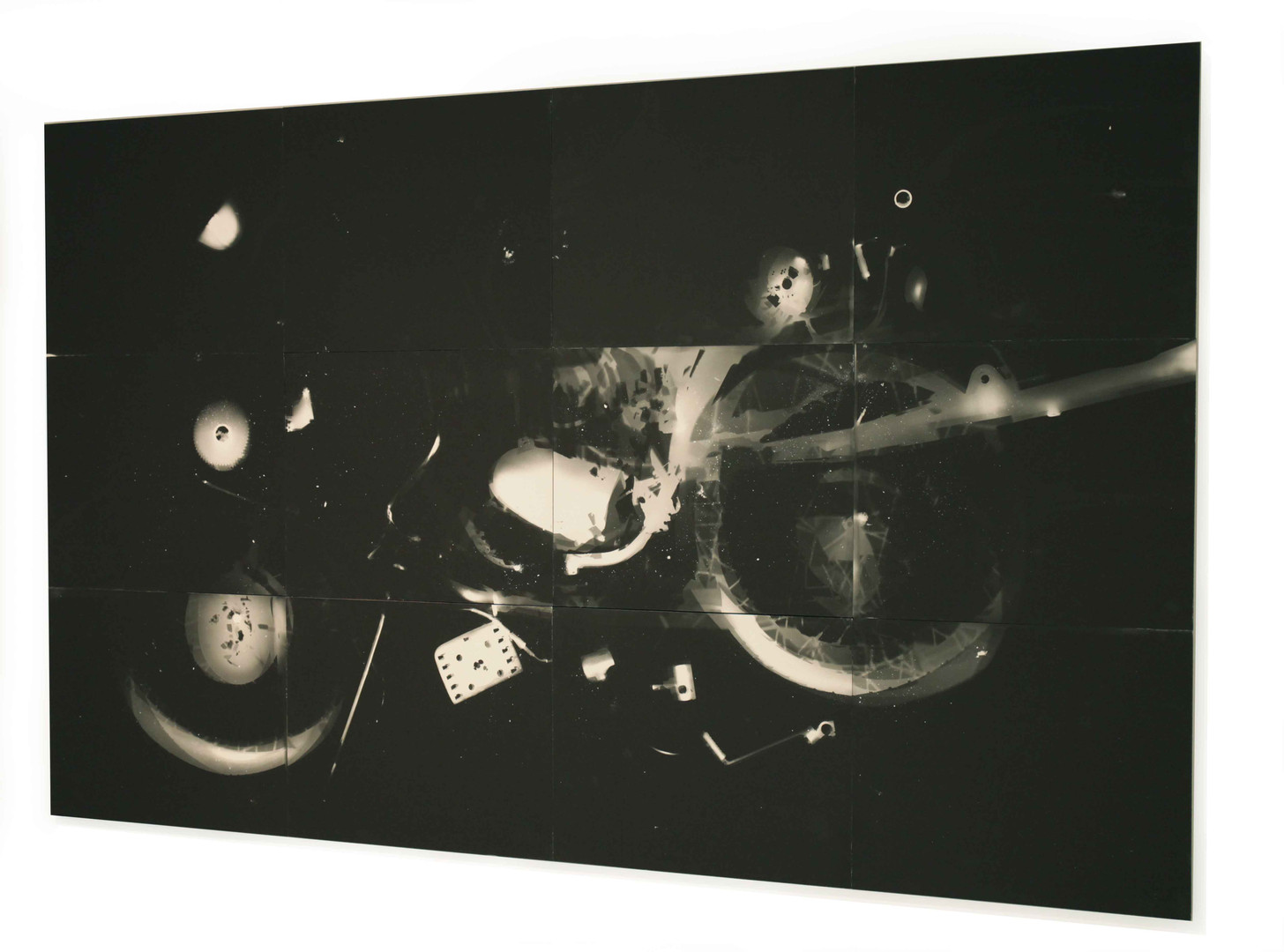 "Yamaha Wrecked 1978 Photogram 60"" x 84"""