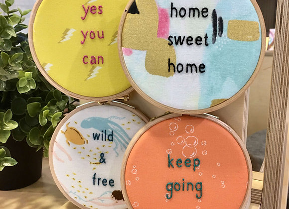 """Embroidered 4"""" Quote Hoop"""