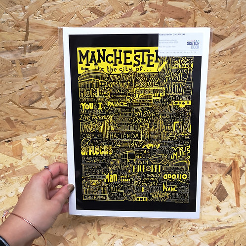 Manchester is the City Of Print - Yellow & Black