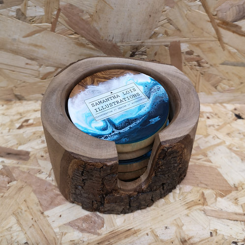 Resin & Wooden Coasters Set of 5
