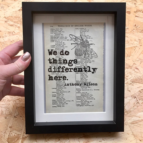'We do Things Differently' Framed Book Page Print