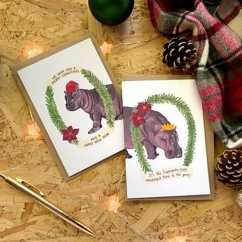 Hippo Christmas Card Pack