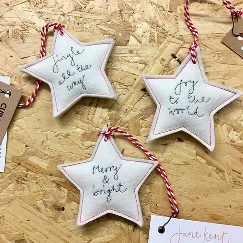 Embroidered Star Decoration