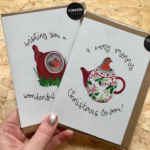 Teapot Robin Christmas Card Pack