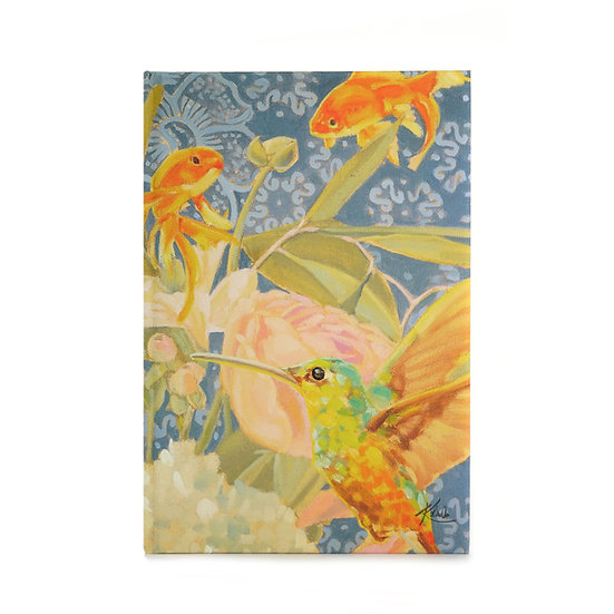 Notizbuch / Skizzenbuch, A5, Kolibri und Fische