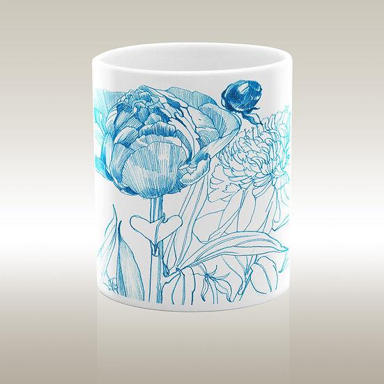 Art-on-a-mug – Keramiktasse, Blüte und Knospe, blau