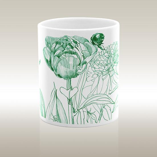 Art-on-a-mug – Keramiktasse, Blüte und Knospe, grün