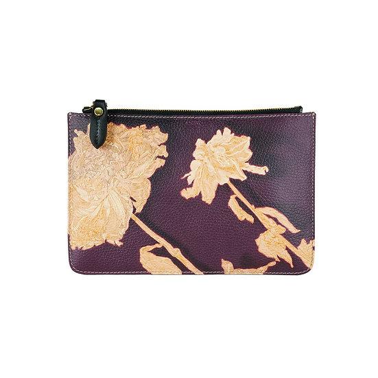 Art on a Bag, nappa leather bag, aubergine