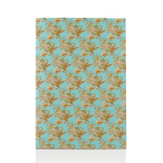 Sammelmappe, Kolibri und Fische, asian blue, A4 maxi