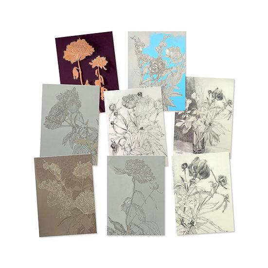 Postkarten-Set, 10 verschiedene Motive, Blumenzeichnungen