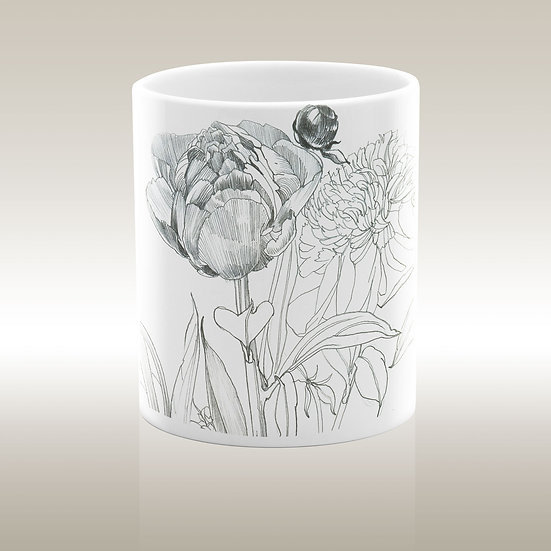 Keramiktasse, Blumen Graphite 1